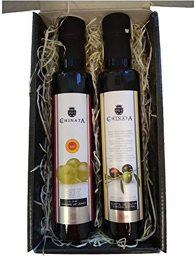 Cajita Regalo con Aceite de Oliva Virgen Extra y Vinagre de Jerez 250 ml (cristal) en caja de cartón negra con frase