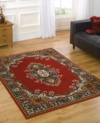 "Very Large Traditional Rug 180 x 250 cm (5'11"" x 8'2"") Red Carpet - inexpensive UK rug store."