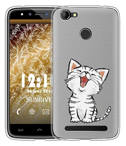 Sunrive Für HOMTOM HT50 Hülle Silikon, Handyhülle matt Schutzhülle Etui Case Backcover für HOMTOM HT50(TPU Katze 2)+Gratis Universal Eingabestift