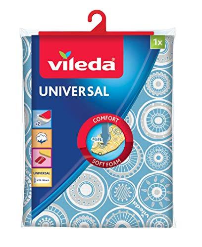 Vileda Bügelbrettbezug aus Baumwolle und Schaumstoff mit praktischem Gummiband, 110-130 cm lang, 30-45 cm breit, blau