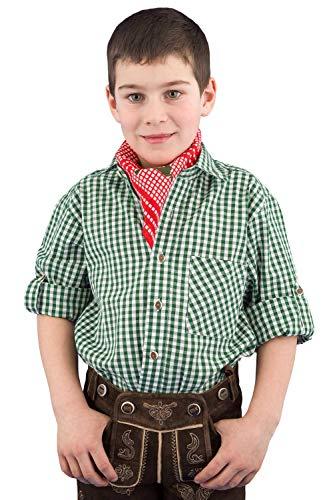 Isar-Trachten Trachtenhemd Kinder Jungen 52915 Kinderhemden Jungen Trachtenhemd grün Kariertes Hemd Kinder Jungen - 128