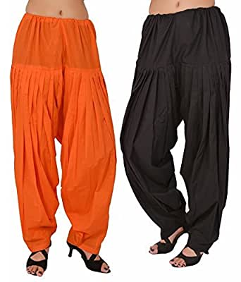 I Shop Women's Traditional Cotton Patiala Salwar, Free Size (Black, Orange)