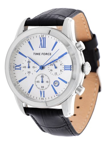 Time Force TF4099M02–Orologio da uomo, cinturino in pelle colore nero