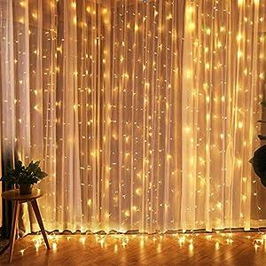 LED Vorhang Lichte,Fenster Lichterkettenvorhang indoor,300 LEDs, 3M × 3M, 8 Modi Vorhang Lichterketten für Innen, Weihnachten, Kinderzimmer, Außen, Party, Hochzeit usw. Warmweiß
