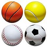 | 4Stk | Stressball im mini Sportball Design | 6,35cm | Antistressbälle Stressbälle in mehreren Härtegraden A