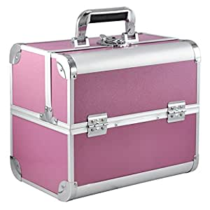 SODIAL(R) Large Espace Beaute Maquillage Ongle Technique Cosmetique Boite Vanity Case Stockage - Rose