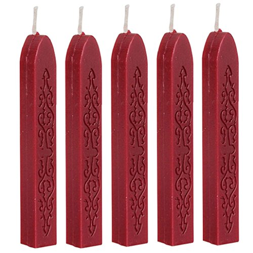 cheers-online-5pcs-vintage-flower-classic-sealing-wax-stamp-sticks-for-postage-letter-dark-red