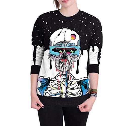 (Dasongff Halloween Kleidung Damen Pullover Scary Halloween Schädel 3D Print Party Langarm Top Sweatshirt für Party)