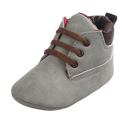 OverDose Unisex-Baby weiche warme Sohle Leder / Baumwolle Schuhe Infant Jungen-Mädchen-Kleinkind Schuhe 0-6 Monate 6-12 Monate 12-18 Monate A-Grau-Leder