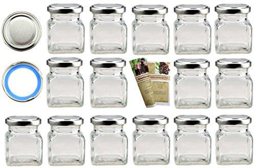 Flaschendiscount 15er Set leere eckige Einmachgläser