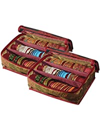 Srajanaa Plastic Zipper Bangle Organiser/Bangle Box with 3 Rods Pack of 2