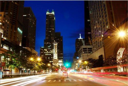 Startonight, luce nel buio Quadro su tela, Chicago 80 cm x 120 cm