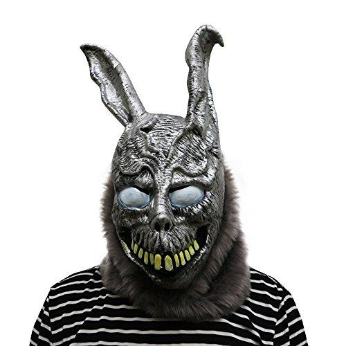Donnie Darko Frank the Rabbit Maske mit Haaren mask aus sehr hochwertigen Latex Material mit Öffnungen an Augen Halloween Karneval Fasching Kostüm Verkleidung für Erwachsene Männer und Frauen Damen Herren (Brille Kostüme Für Mit Männer)