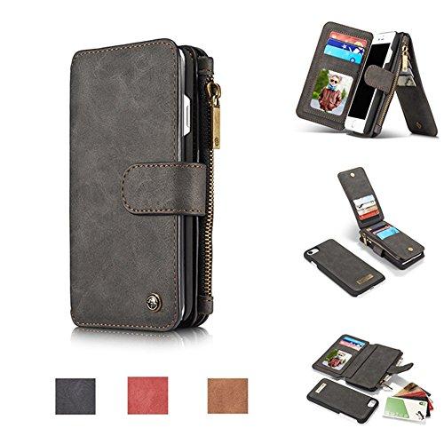 CaseMe Etui Protection Detachable Case Carte Slots Multifonctionnel Zipper Purse PU Couvertures en Cuir pour iPhone 7 Noir
