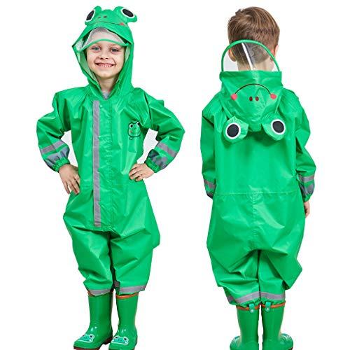 Enfants Imperméable, Combinaison Enfant Imperméable Encapuchonné Pluie Résistant 3-5 years,Vert
