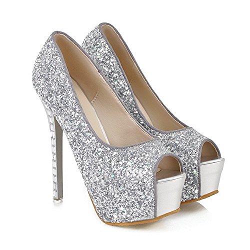 Adee Damen Pailletten High-Heels Weiches Material Sandalen Silber