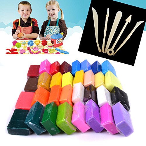 reelva-32-colours-oven-bake-polymer-clay-with-5-modelling-moulding-sculpey-tool-set-for-kids-hand-cr