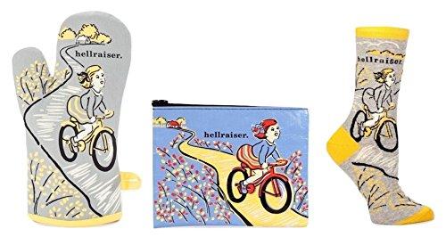 Hellraiser BlueQ Geschenk Set Bundle mit Ofen Mitt, Reißverschluss Tasche, und Damen Crew Socke mit Mädchen auf Fahrrad Mitt-set