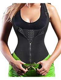 1b42b74531 Chumian Women s Underbust Corset Waist Trainer Cincher Steel Boned Body  Shaper Vest with Adjustable Straps