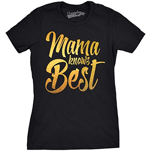 Crazy Dog Tshirts Womens Mama Knows Best Gold Shimmer Funny T Shirts for Mom Idea T Shirt