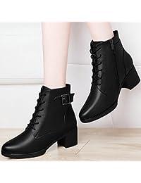 Épaisse avec des bottes à talons hauts bottes hautes bottes de neige glissent des bottes à fond épais, noir 37