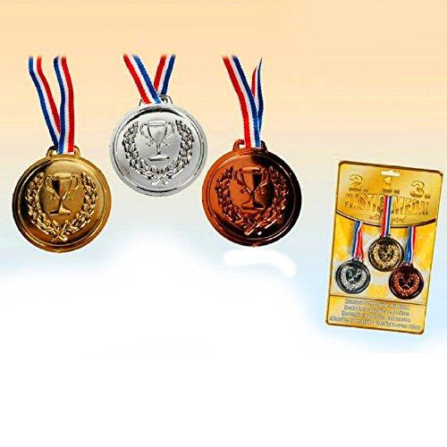 - 12er Set Große Medaillen ┃ 1 Platz - Gold ┃ 2 Platz - Silber ┃ 3 Platz - Bronze ┃ Sieger Medallien ┃ Super Medallien ┃ Podium ┃ Preis für Fußball Turniere Wettbewerbe oder Kinder veranstaltungen ()