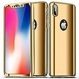 SainCat Coque iPhone XS Max, Coque iPhone XS Max 360 Degres Rigide, Ultra Slim Plastique Rigide Full Protection 360 Shockproof Miroir Coque pour iPhone XS Max-Or