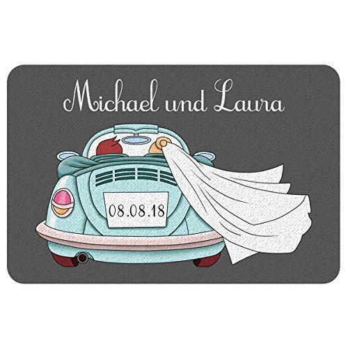 Geschenke 24 Persönliche Fußmatte zur Hochzeit mit Automotiv (Türkis): praktischer Fußabtreter mit Namen von Braut und Bräutigam und dem Hochzeitsdatum personalisiert – persönliches Hochzeitsgeschenk