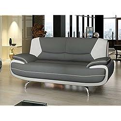 Mobilier Deco Canapé 2 Places Design Gris et Blanc Confortable MUZA