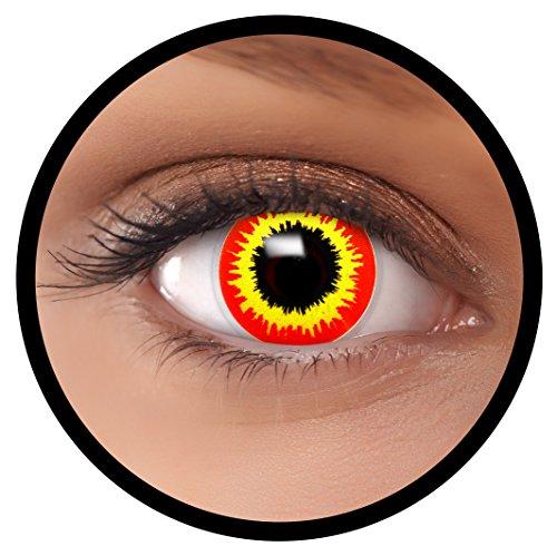 FXEYEZ® Farbige Kontaktlinsen rot gelb Ork + Linsenbehälter, weich, ohne Stärke als 2er Pack - angenehm zu tragen und perfekt zu Halloween, Karneval, Fasching oder (Halloween Rote Augen Kontakte)