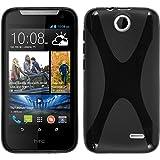 PhoneNatic Case für HTC Desire 310 Hülle Silikon schwarz, X-Style + 2 Schutzfolien