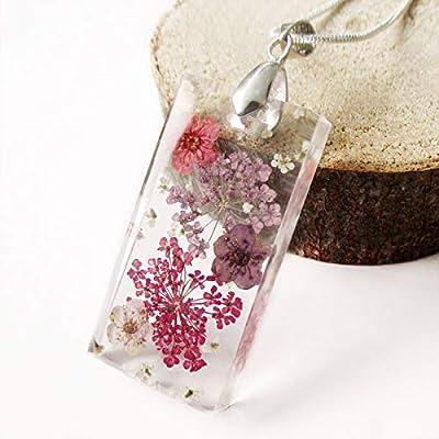 Pendentif Alice rectangle en argetn sterling 925, résine transparente et fleurs pressées - Bijou nature Collier en fleurs séchées colorées