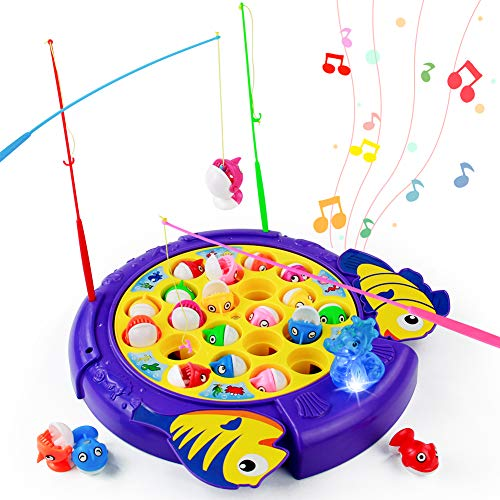 PL Angelspiel Fische Angeln Spiel Musik Fisch Spielzeug 3 4 5 6 Jahren Junge Mädchen Kinderspielzeug Brettspiele Pädagogisches Spielzeug(21 Fische)