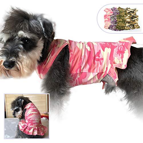 lovelonglong Haustierkleidung für Kleine Hunde, Camouflage, Sportkleid, T-Shirts, T-Shirts, Tanks für Kleine Hunde, Sommer, Frühling, Haustierkostüme, 100% Baumwolle, M, Rose -