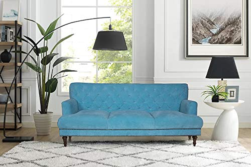 Peachtree Maurya 3 Seater Blue Fabric Sofa
