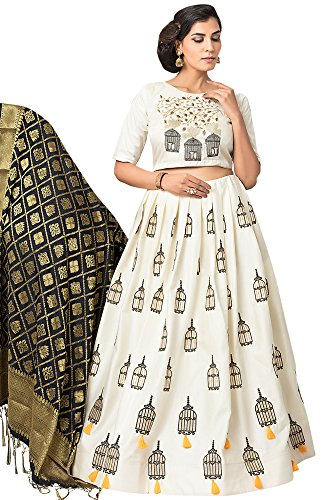 Women'S White Color Embroidered Lehenga -ASBC2A27