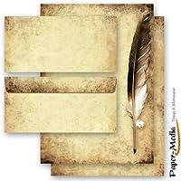 20 u. Set de papel de carta diseño completo carta paper set pluma en papel antiguo con 10hojas de papel papelería + 10sobres DIN largos sin ventana.