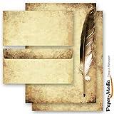 40-tlg. Motivpapier Komplett-Set FEDER AUF ALTEM PAPIER 20 Blatt Briefpapier + 20 passende Briefumschläge DIN LANG ohne Fenster
