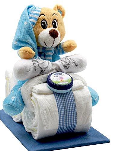 Windeltorte / Windelmotorrad blau für Jungen mit Teddybär + gratis Klappkarte