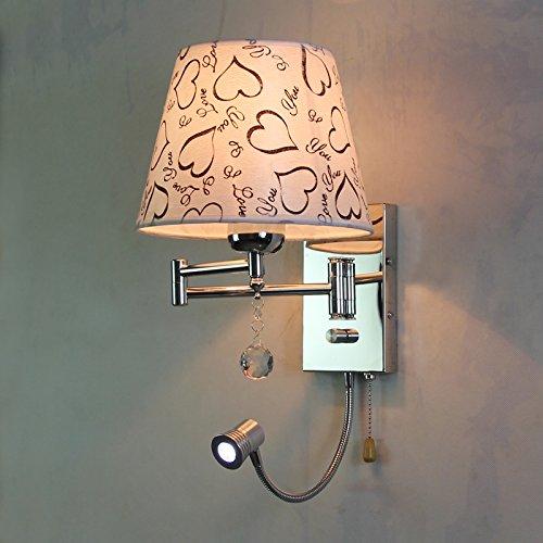 SHIEND Die Teleskopschienen Wippschalter Schlafzimmer Nachttischlampe Wandleuchte tube Lampe dimmen moderne LED, Soulmate (weiß)