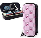 Astuccio quadrato in pelle PU per il cancro al seno rosa con nastro