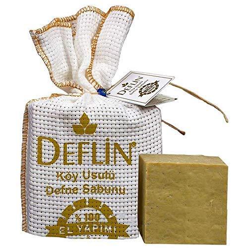 Deflin ✔ Dörfliche Lorbeerseife -%100 Natur Seife - (%50 Olivenöl &%50 Lorbeeröl) – Naturprodukt – Handgemacht - Duschseife