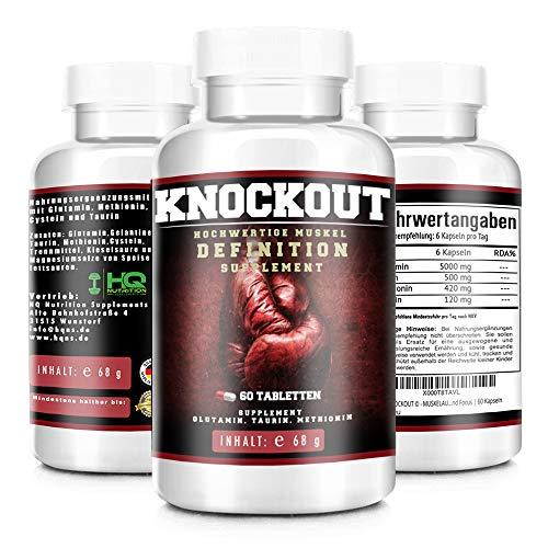 KNOCKOUT © - MUSKELAUFBAU EXTREM | extremer trockener Muskelaufbau | schnellere Regeneration der Muskulatur | mehr Motivation und Focus | 60 Kapseln -