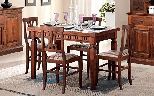 Dafnedesign.Com rechteckiger Tisch aus Pappelholz Natur - Maße cm. 120 x 80 x 80h