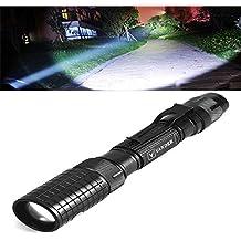 Torcia LED, impermeabile ultra luminoso 5000 lumen tattico torcia, modalità Zoom regolabile torcia da campeggio, alimentato da batterie 18650 + ricarica, Lega di alluminio, Nero , mini size 7.00watts 3.70volts