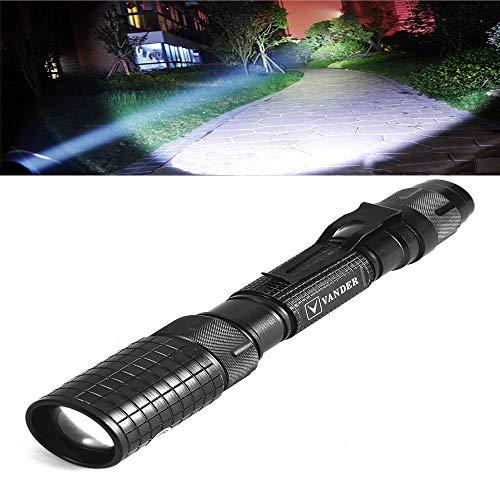 LED Taschenlampe, Vander Super Hell 5000 Lumen T6 Taktische Taschenlampe mit 5 Leuchtmodi, Einstellbar Wasserfest Tragbare Taschenlampen (Inklusive 2 x 18650 Batterie oder Akku Und Adapter dabei)