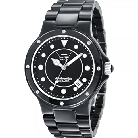 LTD Unisex Ceramic Limited Edition Analogue Watch 31601 with Black Ceramic Case And Bracelet With Stainless Steel Highlights