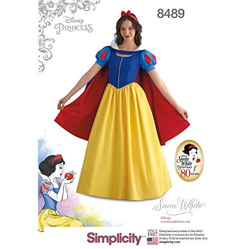 Semplicità modello 84898489–Costume da Biancaneve, carta, HH (6–8-10–12)