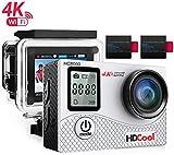 HDCool Action Cam 4K Full HD 16MP Action Camera Waterproof Schermo LCD 2.0 Pollici con Schermata Anteriore a 0.66 Pollici Wifi Sports Camera 170 ° Super Grandangolo, 2 Batterie Ricaricabili 1050mAh