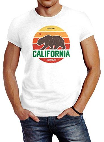 Neverless Herren T-Shirt California Retro Kalifornien Bär Summer Slim Fit Baumwolle Weiß L